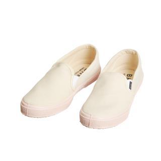Dámske konopné slip-on topánky béžové s ružovou kaučukovou podrážkou