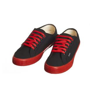 Pánske konopné tenisky čierne s červenou kaučukovou podrážkou