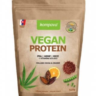 VEGAN PROTEIN prášok, 100% rastlinný proteín, čokoláda a pomaranč, 1x525 g